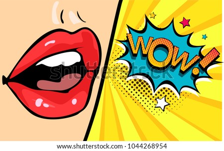 female mouth with speech bubble