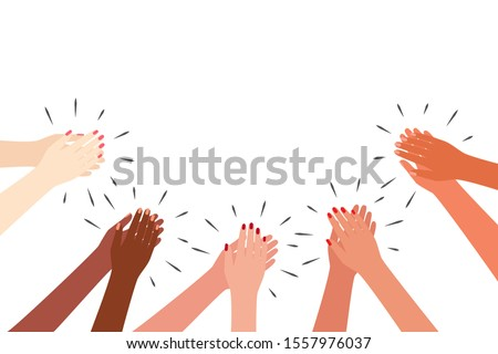 Female multicultural hands applaud. Women clap. Greetings, thanks, support. Vector illustration on white background