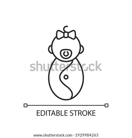 Female newborn linear icon. Infancy stage. Rapid growth after birth. Neonatal period. Thin line customizable illustration. Contour symbol. Vector isolated outline drawing. Editable stroke Stock photo ©