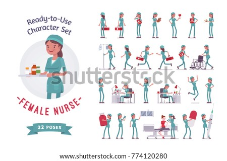 Female nurse ready-to-use character set. Young woman in hospital uniform employed in clinic at work, full length, different views, gestures, emotions, front, rear view. Medicine, healthcare concept