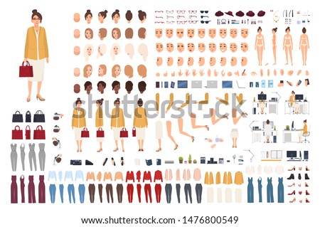Female office assistant avatar set or DIY kit. Bundle of woman's body parts, gestures, poses, formal clothes isolated on white background. Front, side and back views. Flat cartoon vector illustration.