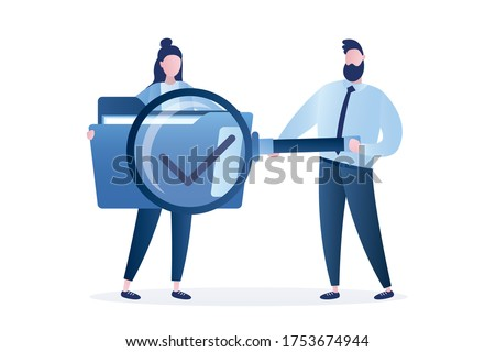 Female office employee hold folder with documents, man worker use big magnifying glass. File searching. File manager, data storage and indexing. Files search. Flat design element. Vector illustration