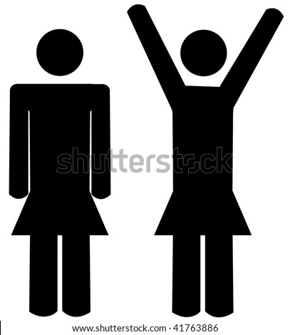female or woman stick figure with arms up and arms at side - vector