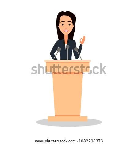 Female orator speaking from tribune. Public speaker character vector Illustration