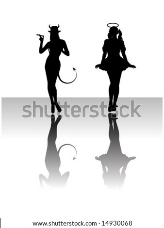 female outlines  an angel and a