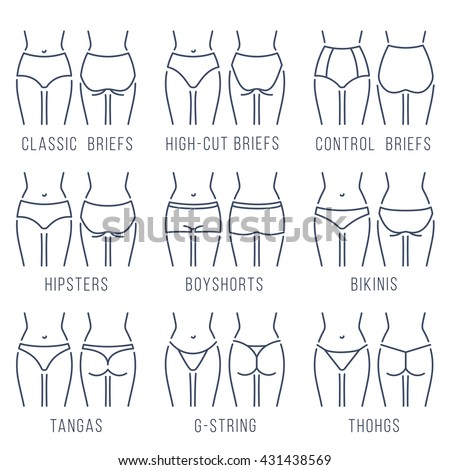 339dc04bdd2 Female panties types flat thin line vector icons set. Woman underwear  fashion styles collection.