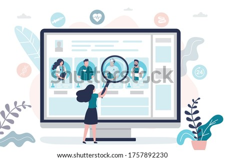Female patient chooses doctor. Doctors team, medical staff portraits. Online service,  searching therapist via internet. Healthcare, medical insurance and telemedicine. Trendy flat vector illustration