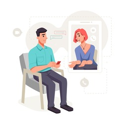 Female patient communicates with psychologist online, video audio call. Vector consultation on computer at home, session with psychologist, distance counseling to stay safe from coronavirus