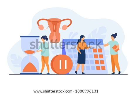 Female patient consulting doctor about reproductive health. Hourglass, calendar, pause button. Vector illustration for gynecology, menopause, estrogen replacement therapy concepts Foto d'archivio ©