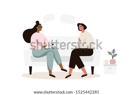 Female patient with psychologist or psychotherapist sitting on sofa. Psychotherapy session. Mental health, depression. Flat vector illustration. Сток-фото ©