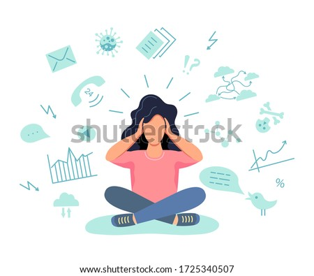 Female person gets too much information. Information and data overload concept. Mental health concept. Digital information overload. Flat cartoon design styles vector illustration. Сток-фото ©