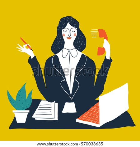 Female personal assistant cute vector illustration. Young office manager. Cartoon business lady illustration. Multitasking woman.