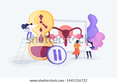 Female personal health concern, worry. Woman getting checked by doctors. Menopause, women climacteric, hormone replacement therapy concept. Vector isolated concept creative illustration