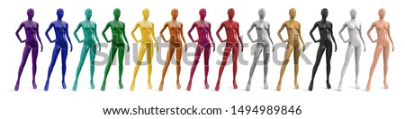 Female plastic naked mannequin. Set of standing female mannequins of different colors. Showcase fashion store. Front view, three quarter view. Vector 3d illustration isolated on white background.