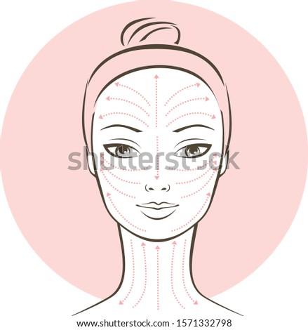 Female portrait with lymphatic massage scheme  Foto stock ©
