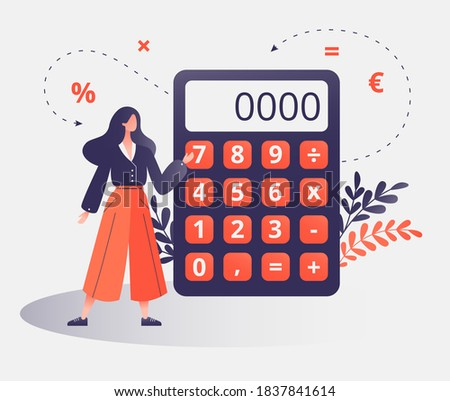 Female professional with calculator for math operations, budget, analytics, data, income, finance. Completely editable vector illustration. Finance, calculations and economy concept.