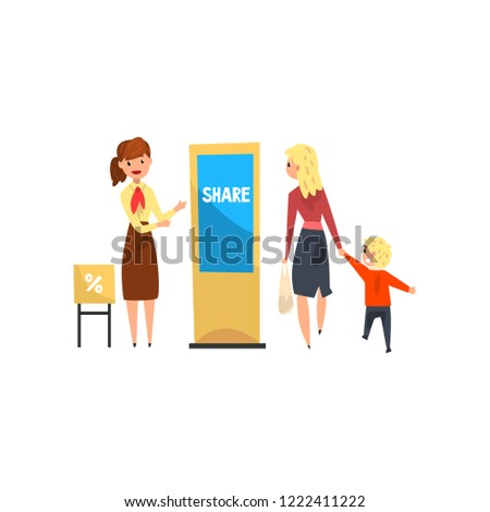 Female promoter character promoting products or services on an electronic promo stand, people walking at trade show exhibition vector Illustration on a white background