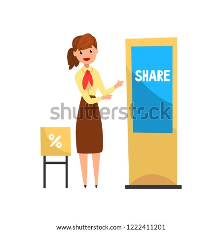 Female promoter character promoting products or services on an electronic promo stand vector Illustration on a white background