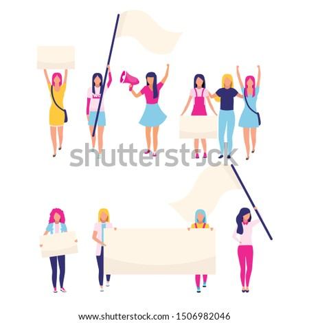 Female protesters with blank placards flat vector characters. Feminist activists, women rights protection, gender equality protest participants. Feminism, women empowerment cartoon illustrations