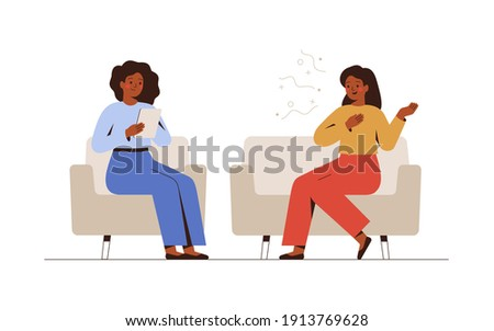 Female psychotherapist has an Individual session with her patient and sees positive results. Happy Woman sits on the sofa and excitedly tells something to her counselor. Talk therapy concept. Vector
