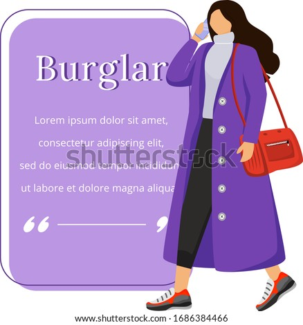 female robber flat color vector