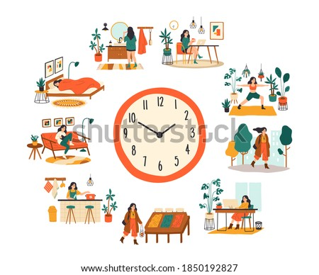 Female routine. Lifestyle activities temporal distribution, young woman daily schedule, life scenes around big clock face. Young woman sleep work training and shopping everyday vector cartoon concept Foto stock ©