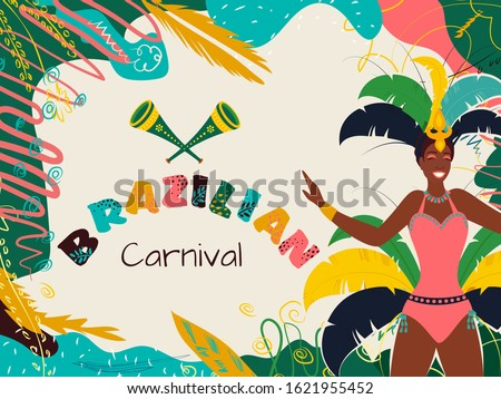 Female Samba Dancer with Party Horn on Creative Colorful Abstract Background for Brazilian Carnival Celebration.