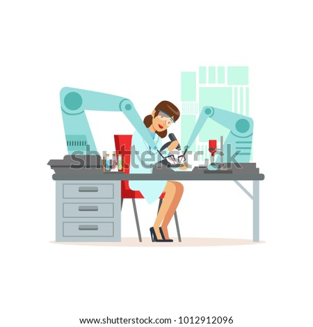 Female scientist and robotic arm conducting experiments in a modern laboratory, artificial intelligence concept vector illustration