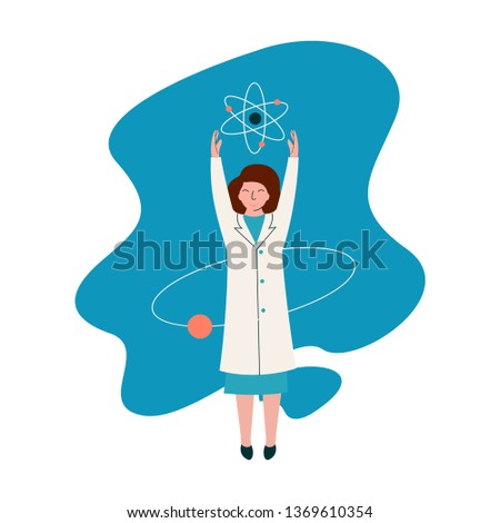 Female Scientist Physicist Character Wearing White Coat Working at Researching Lab with Atoms, Scientific Research Concept Vector Illustration