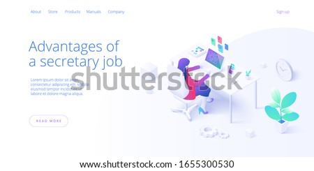 Female secretary busy with laptop job in office in isometric vector illustration. Personal assistant workaholic or overworked woman operator multitasking at desk. Web banner layout template.