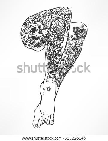 female sexy tattooed barefoot