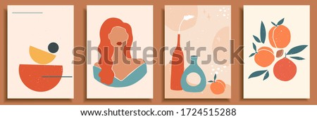 Female shape, silhouette on retro summer background. Fashion woman portrait in pastel colors. Collection of contemporary art posters. Abstract paper cut elements, shapes, pottery, vase, peach, orange.