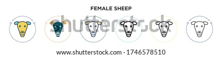female sheep icon in filled