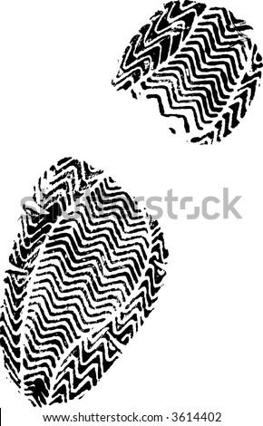 Female Shoe Print White on Black hi detail vector - stock vector