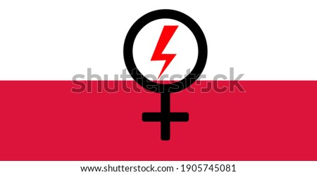 Female sign on Poland flag with protester sign for protesting against abortion ban Zdjęcia stock ©