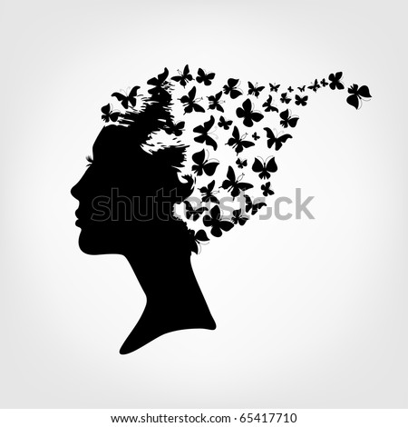 Female silhouette and butterfly - stock vector