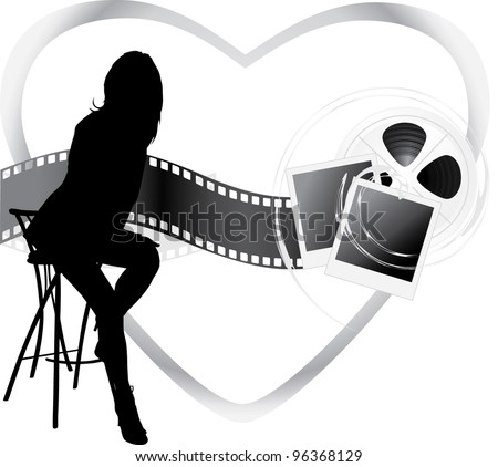 Female silhouette and film objects. Vector