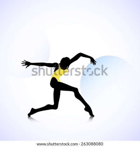 Female silhouette dancing on abstract circles background #263088080