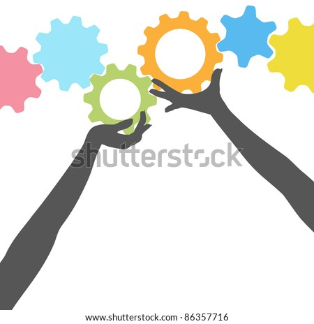 Female silhouette people hands hold up technology gears in colorful row - stock vector