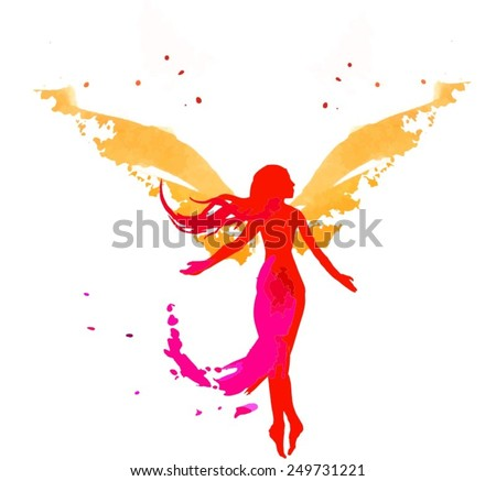 female silhouette with angel