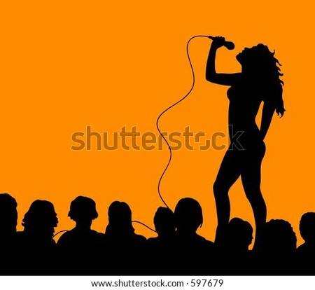 Female singer with audience - vector