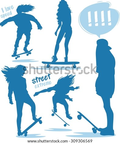 female skaters silhouettes blue