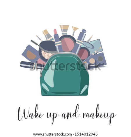 Female skincare cosmetic products in a cosmetic bag. Wake up and makeup.