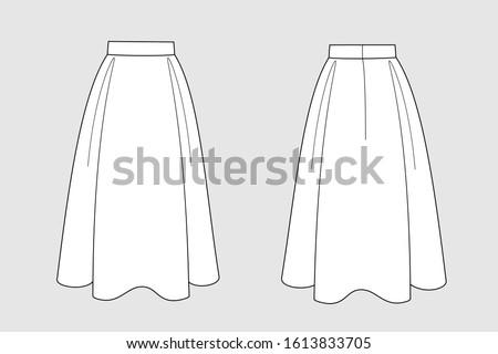 female skirt vector template