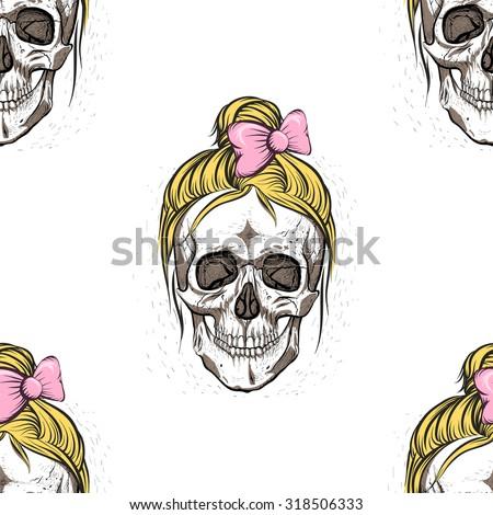 female skullseamless pattern