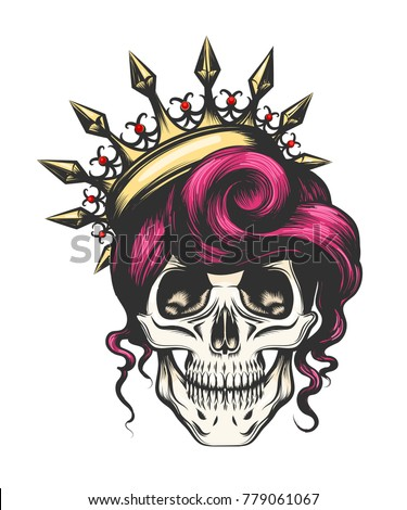 female skull with a crown and