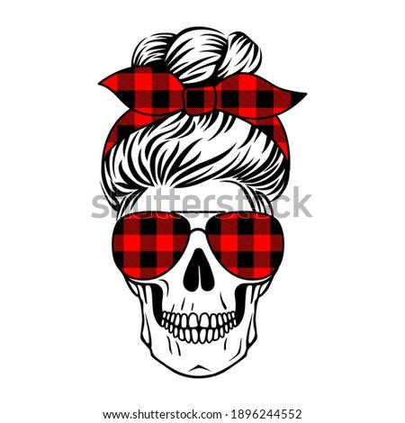 Female skull with aviator glasses and buffalo plaid pattern. Mom life skull. Vecto boho print. Messy bun.