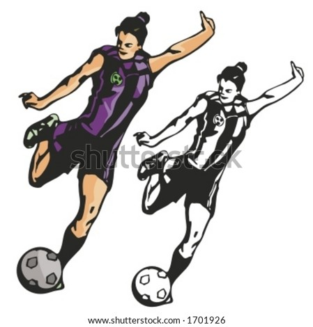 stock vector : Female soccer player. Vector illustration
