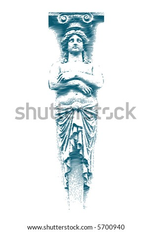 Female statue on the Grunge style. Vector illustration.