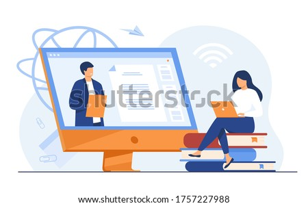 Female student listening webinar online flat vector illustration. Cartoon people at training, video conference or lecture. Computer study and education concept Photo stock ©
